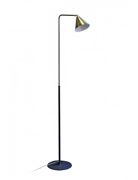 Studio - lampadaire en métal noir et laiton